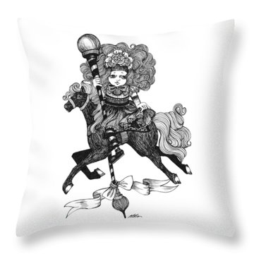Merry-go-round Girl Throw Pillow