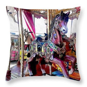 Merry Go Round Horses Throw Pillow
