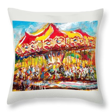Throw Pillow featuring the painting Merry-go-round by Les Leffingwell