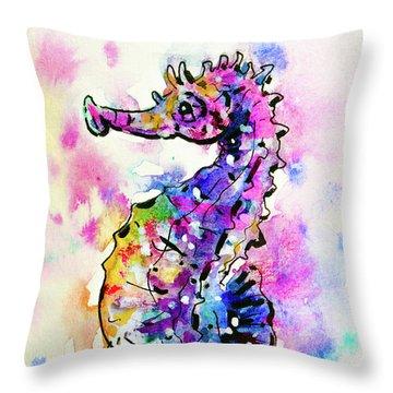 Throw Pillow featuring the painting Merry Seahorse by Zaira Dzhaubaeva