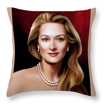 Throw Pillow featuring the digital art Meryl Streep 1 by Jann Paxton