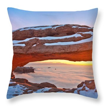 Mesa Arch And Winter Inversion Throw Pillow