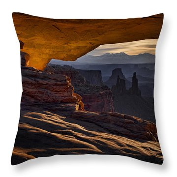 Throw Pillow featuring the photograph Mesa Arch Glow by Jaki Miller