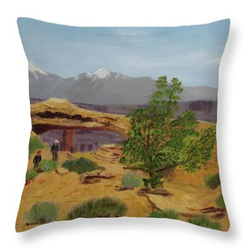 Throw Pillow featuring the painting Mesa Arch by Linda Feinberg