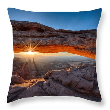 View Through The Mesa Arch At  Sunrise Throw Pillow