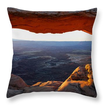 Throw Pillow featuring the photograph Mesa Arch Panorama by Aaron Spong