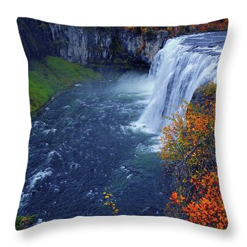 Mesa Falls In The Fall Throw Pillow