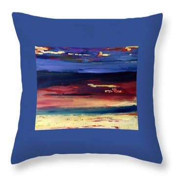 Throw Pillow featuring the painting Mesa Sunset by Brenda Pressnall
