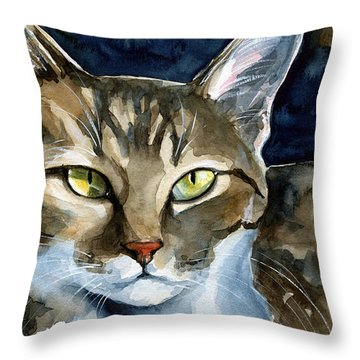 Mesmerizing Eyes - Tabby Cat Painting Throw Pillow