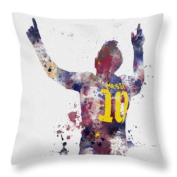 Messi Throw Pillow by Rebecca Jenkins