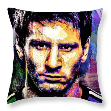 Messi Throw Pillow by Svelby Art