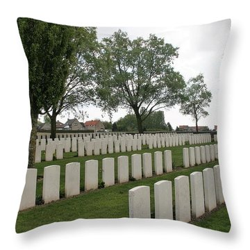Messines Ridge British Cemetery Throw Pillow by Travel Pics