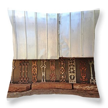 Metal And Ironwork With White Border Throw Pillow