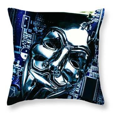Metal Anonymous Mask On Motherboard Throw Pillow