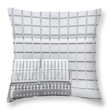Metal Bench Against Concrete Squares Throw Pillow