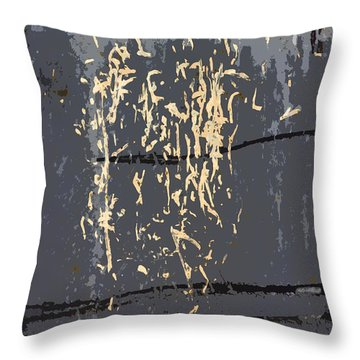 Metal Calligraphy Throw Pillow by Carol Leigh