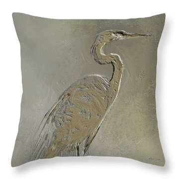 Metal Egret 3 Throw Pillow