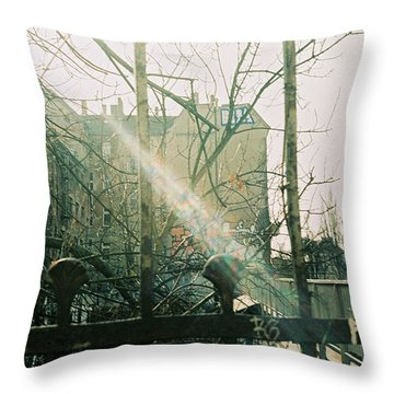 Metal Fence With Grafitti And Bridge Throw Pillow
