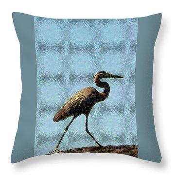 Metal Heron Throw Pillow by Ellen O'Reilly