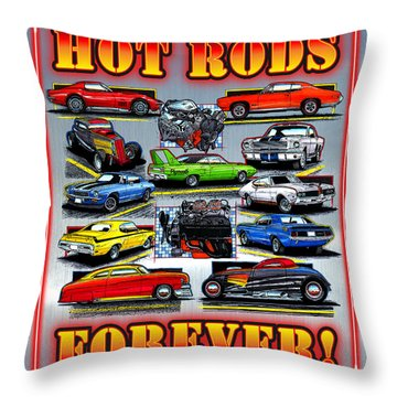 Metal Hot Rods Forever Throw Pillow