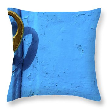 Metal Knob Blue Door Throw Pillow by Prakash Ghai