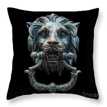 Throw Pillow featuring the photograph Metal Lion Head Doorknocker Isolated Black by Antony McAulay
