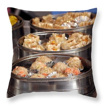 Metal Steamers With Dim Sum Dishes Throw Pillow