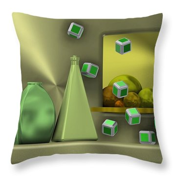 Metalic Still Life With Cubes Flying Throw Pillow
