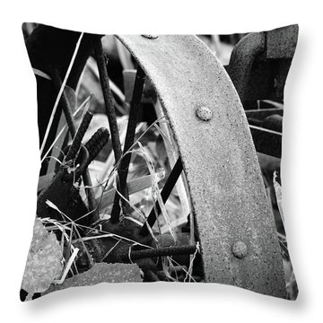 Metal Wheel Throw Pillow by Michael Peychich