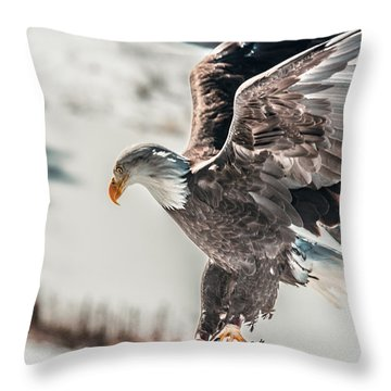 Metallic Bald Eagle  Throw Pillow