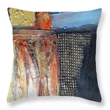 Metallic Fall With Blue Throw Pillow