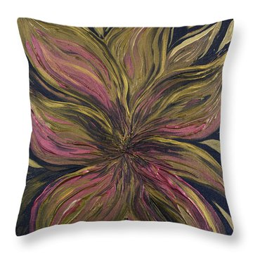 Metallic Flower Throw Pillow