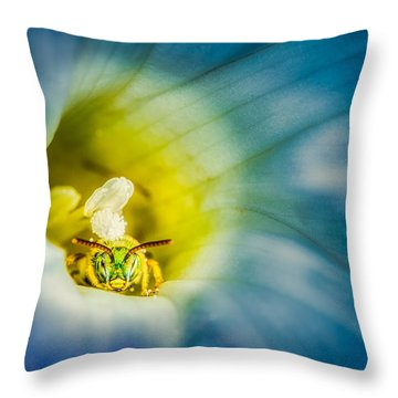 Metallic Green Bee In Blue Morning Glory Throw Pillow