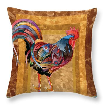Metallic Rooster Throw Pillow