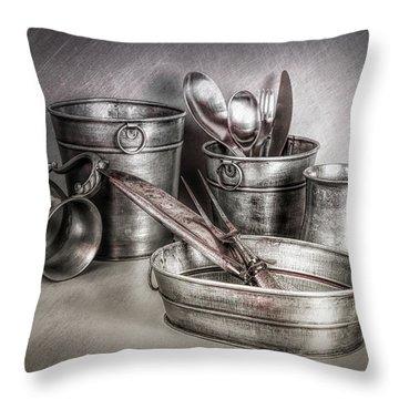 Metalware Still Life Throw Pillow