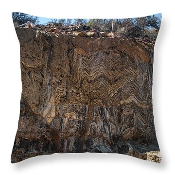 Metamorphic Geologic Wall In Kings Canyon Giant Sequoia National Monument Sequoia National Forest Throw Pillow
