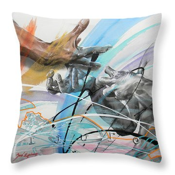 Throw Pillow featuring the painting Metamorphosis by J- J- Espinoza