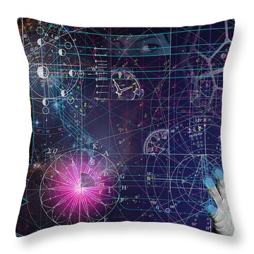 Throw Pillow featuring the digital art Metaphysical Gravity by Kenneth Armand Johnson