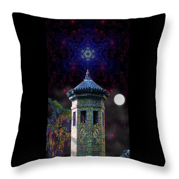 Throw Pillow featuring the digital art Metatron Nocturnal by Iowan Stone-Flowers