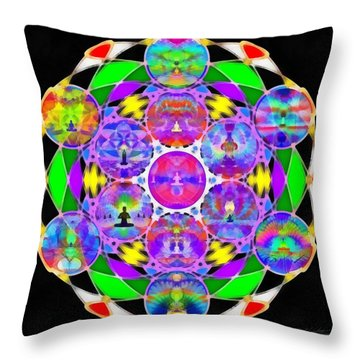 Throw Pillow featuring the digital art Metatron's Cosmic Ascension by Derek Gedney
