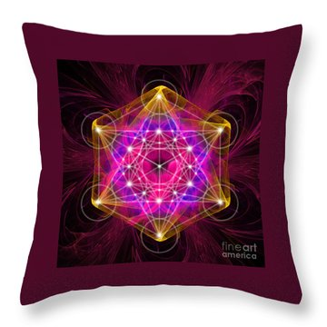Metatron's Cube With Flower Of Life Throw Pillow