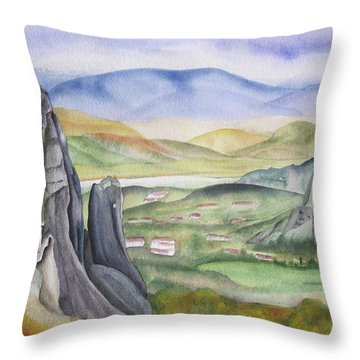 Throw Pillow featuring the painting Meteora by Teresa Beyer