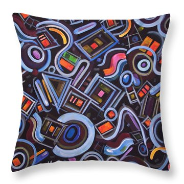 Throw Pillow featuring the painting Metrimorphic Lll by Lynda Lehmann