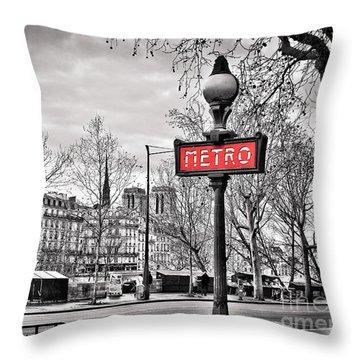Metro Pont Marie Throw Pillow