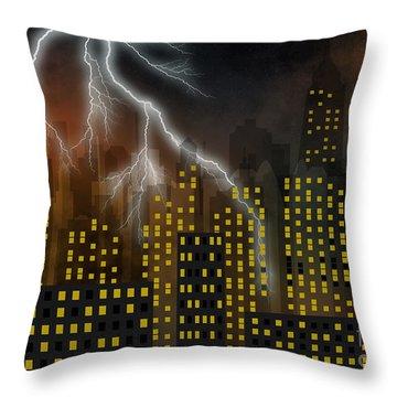Metropolis At Stormy Night Throw Pillow by Michal Boubin