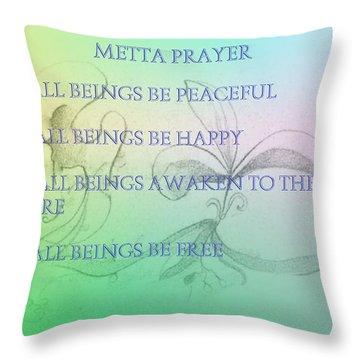 Metta Prayer Throw Pillow