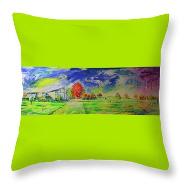Mettmann Golfclub Von Einfahrt   Mettmann Golf Club From Entrance Throw Pillow