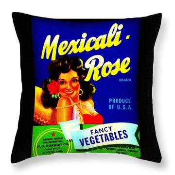 Mexicali Rose Vintage Vegetable Crate Label Throw Pillow by Peter Gumaer Ogden