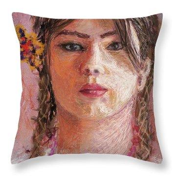 Mexican Girl Throw Pillow