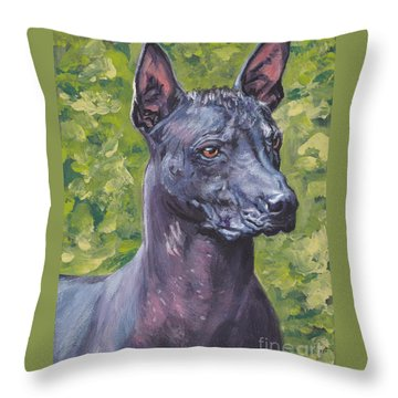 Throw Pillow featuring the painting Mexican Hairless Dog Standard Xolo by Lee Ann Shepard